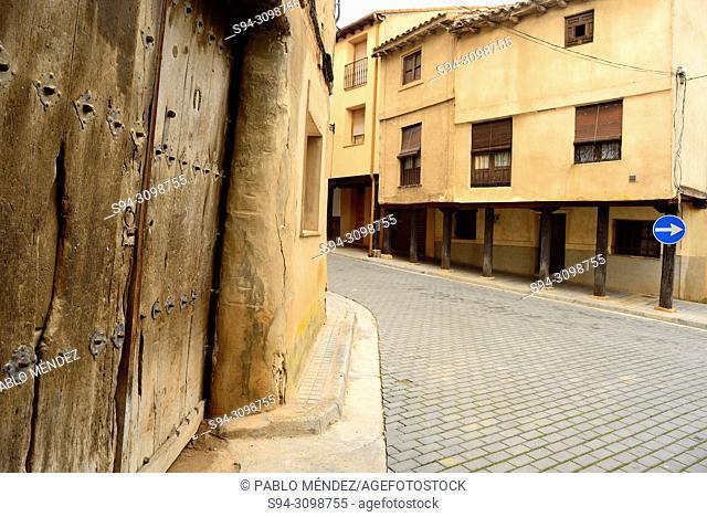 Street and arcade in the main square of Berlanga de Duero, Soria, Spain