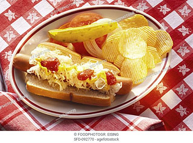 Hot Dog with Chips & Cabbage
