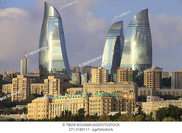 Azerbaijan, Baku, skyline, Flame Towers,