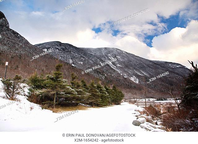 Franconia Notch State Park during the winter months in the White Mountains, New Hampshire USA