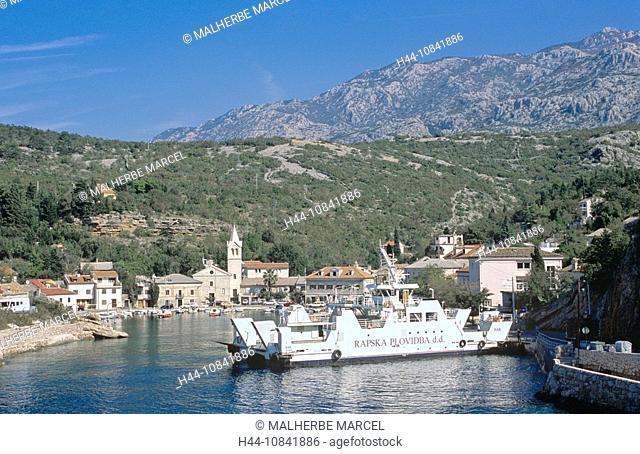 Croatia, Europe, Jablanac, Dalmatia, Europe, view, town, docked ferry, island, Rab island, cityscape, ferry, transport