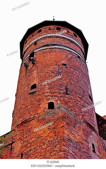 Castle in Olsztyn poland, travel architecture tourism city, blue