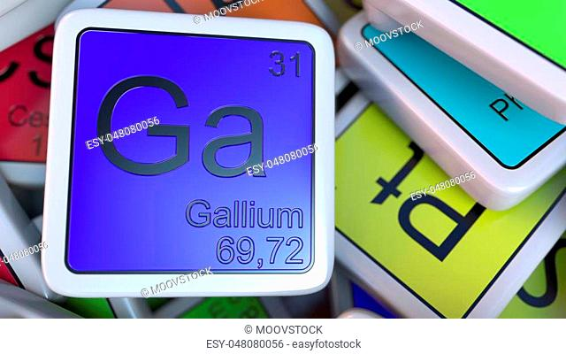 Gallium tag on the pile of periodic table of the chemical elements tags