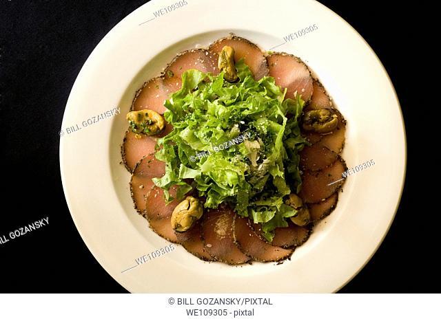 Fresh tuna carpaccio appetizer plate - Hemingways Resort - Watamu, Kenya