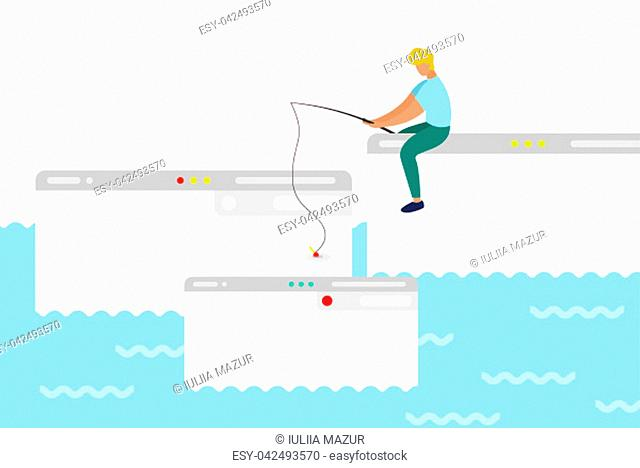 A man sit on computer window trying to catch webpage on the hook. In ocean of ideas find your web design. Fresh form concept, pastel color