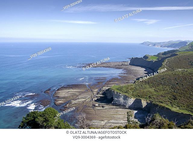 Flysch, Mendata, Sakoneta beach, Basque Country; Spain