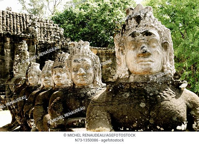 Cambodia, Siem Reap, Angkor World Heritage list of UNESCO, South Gate of Angkor Thom, head Assura