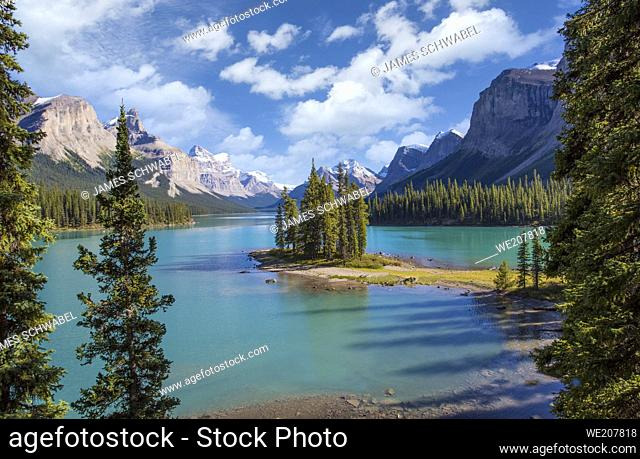 Spirit Island in Maligne Lake In Jasper National Park in Alberta Canada