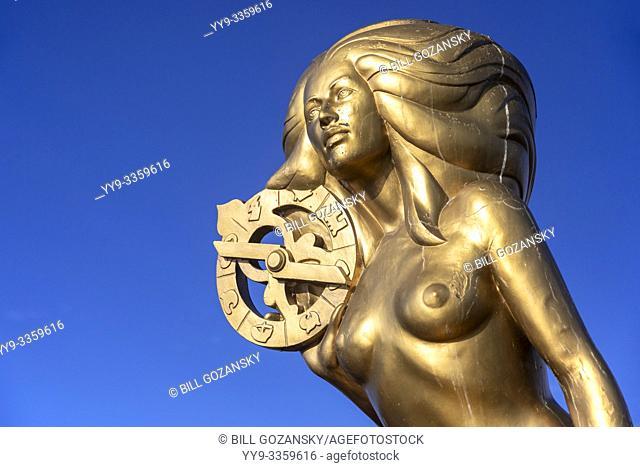 "Ganges Harbour Mermaid - Bronze mermaid statue named """"Nerissa"""" by artist: Thomas Richard McPhee - Salt Spring Island, British Columbia, Canada"