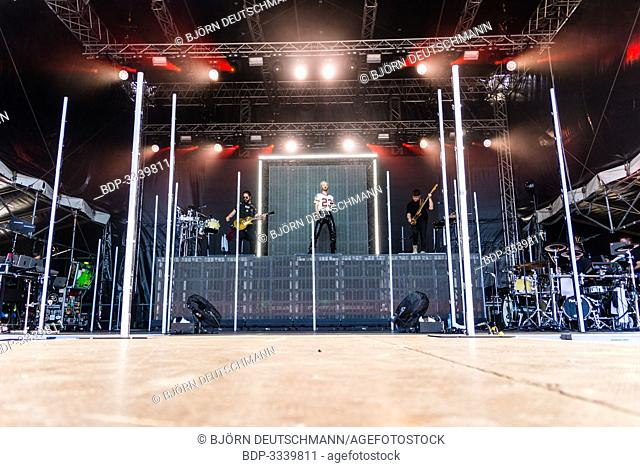 """Kiel, Germany - June 28tht 2019: The Band """"""""Tokio Hotel"""""""" is performing on the Hörn Stage"""