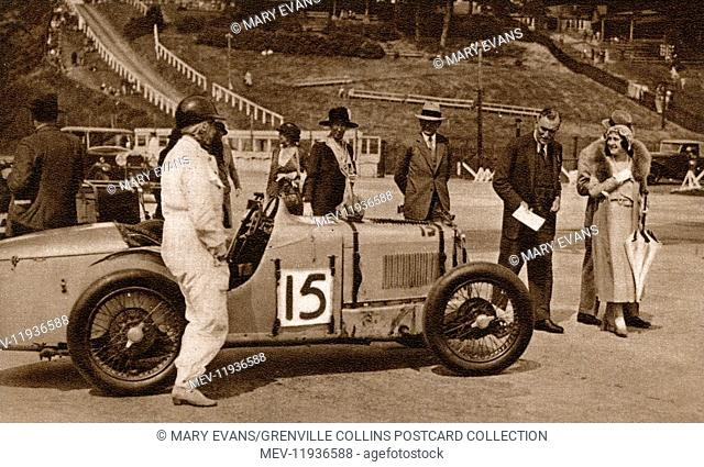 The Duke and Duchess of York at the Brooklands Motor Racing Circuit at Weybridge, Surrey on 2nd July, 1932 - attending a meeting arranged by the Junior Car Club...