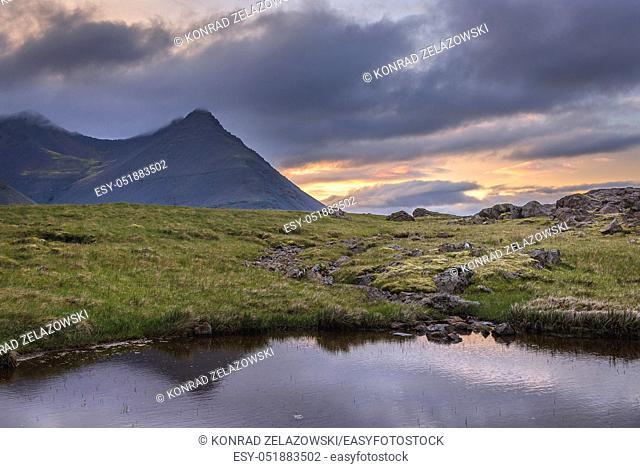 Sunset above Skalatindur mountain in east part of Iceland