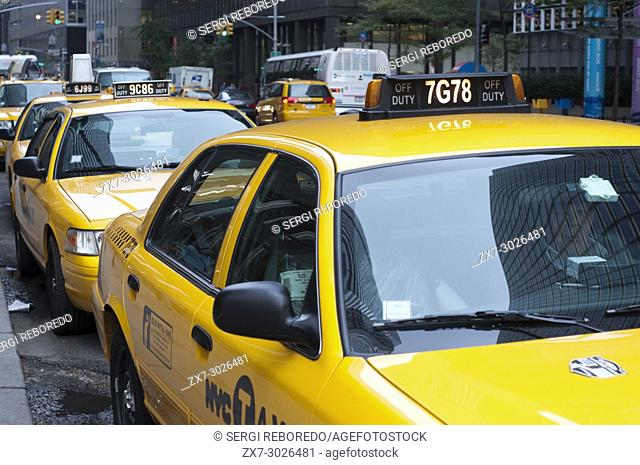 Yellow taxis in the area of Seaport and Civic Center, New York City, New York, United States of America, USA