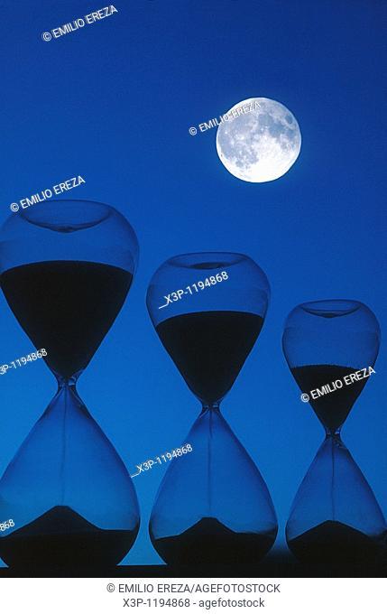 Sandglasses and moon
