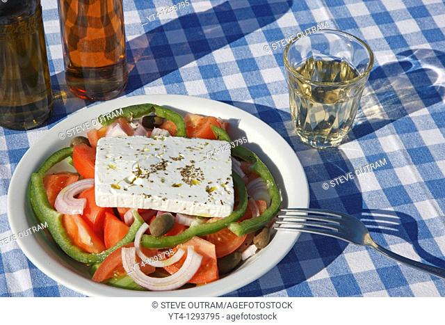 A Greek Salad and glass of Retsina wine  Crete, Greece