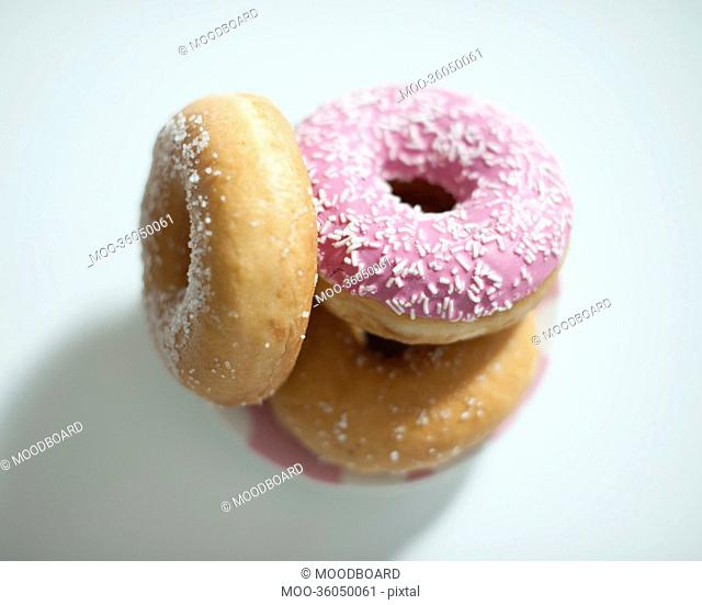 Close-up of donuts on counter
