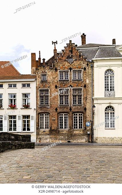 Typical Flemish architecture along the Spiegelrei in Brugge, Belgium