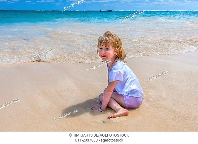 young girl on beach, Riu Palace, hotel, Punta Cana, Dominican Republic, Caribbean