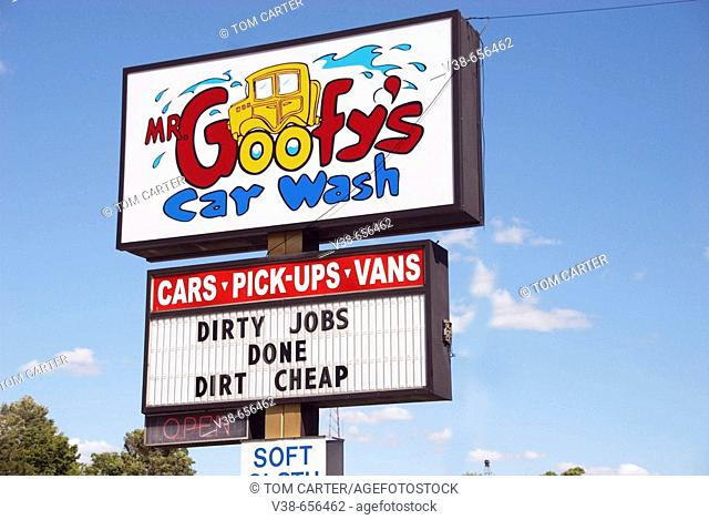 Sign for the Goofy Car Wash in Belleville, Michigan