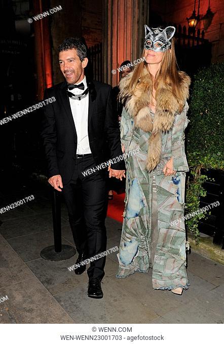 Antonio Banderas and Nicole Kimpel attend Roberto Cavalli's wife Eva Cavalli - VIP birthday party at One Mayfair. London
