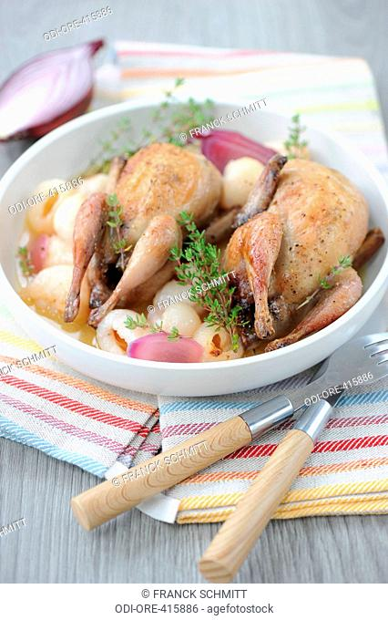 Lychees and roasted quails