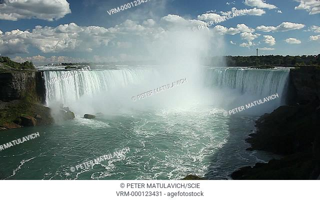 Horseshoe Falls, with a drop of 53 meters and a width of 790 meters, is the largest of the three waterfalls that straddle the international border between the U