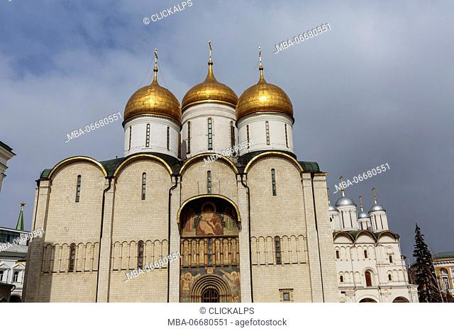 Russia, Moscow, Dormition Cathedral in the Moscow Kremlin