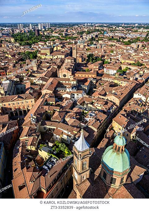 View from the Asinelli Tower, Bologna, Emilia-Romagna, Italy