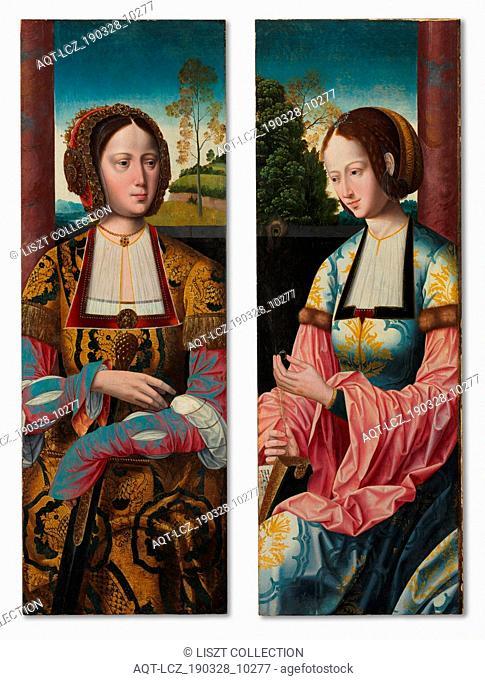 Saint Catherine and Saint Barbara (pair), c. 1520. Master of the Holy Blood (Netherlandish). Tempera on wood panel; framed: 91 x 34.5 x 5