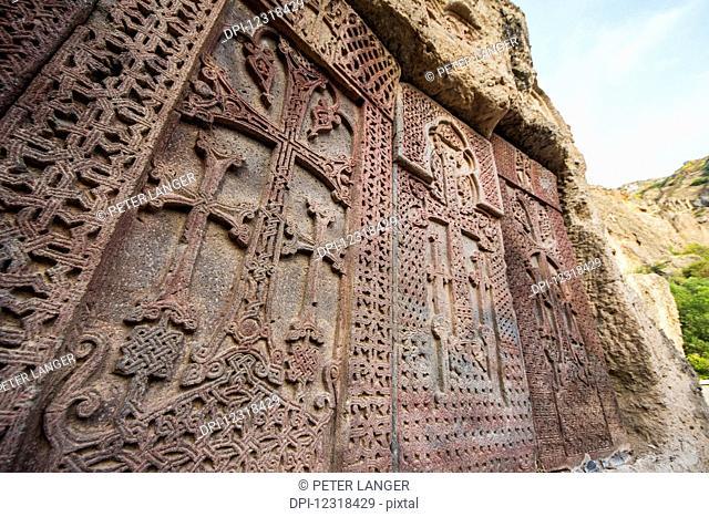 Khachkars, Armenian cross-stones at Geghard Monastery, Azat Valley; Armenia