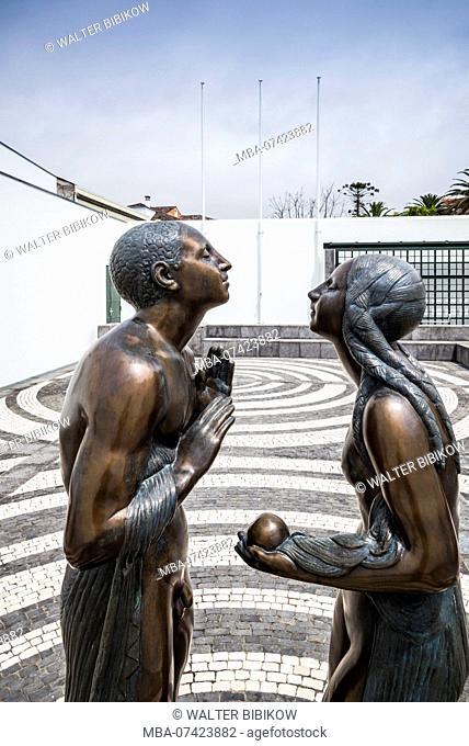Portugal, Azores, Sao Miguel Island, Ponta Delgada, Nucleo Santa Barbara museum, outdoor reproduction of the sculpture Adam and Eve by Azorean sculptor Ernesto...