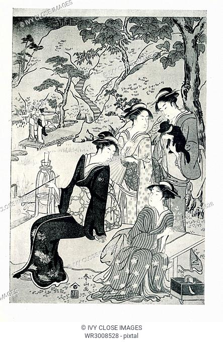 The caption of this print reads—Shunzan: Centre sheet of triptych. A group of a ladies in a garden by a lake; signed Shunzan; publisher, Yeijudo