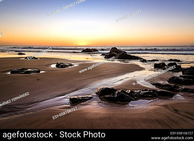 Scenic view of beach against sky during sunset. El Cotillo, Fuerteventura, Canary Islands. Holidays concept