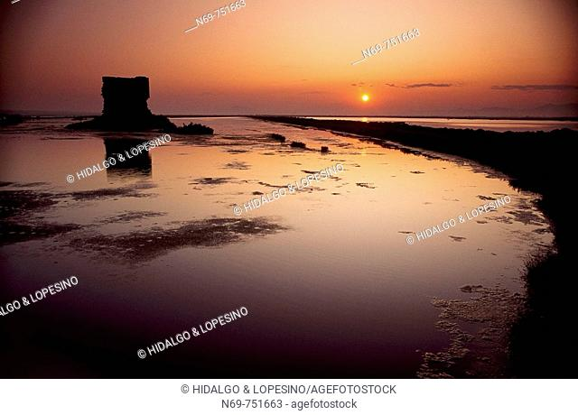 Tamarit tower at sunset , Santa Pola salt lagoons , Alicante province , Comunidad valenciana , Spain