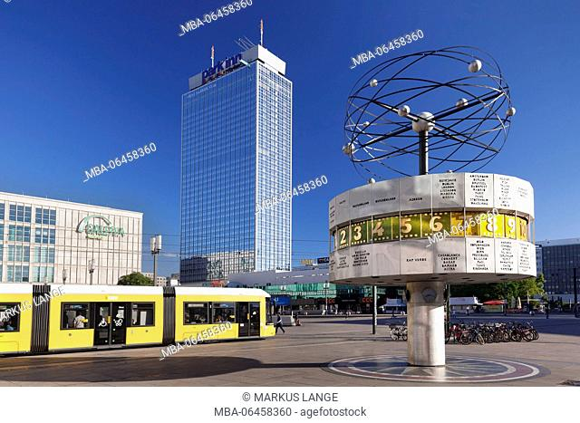World time clock and hotel park Inn on the Alexanderplatz (square), the Mitte district of Berlin, Berlin, Germany
