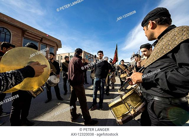 Musicians in a procession on the Day of Ashura commemoration; Ardabil, Iran