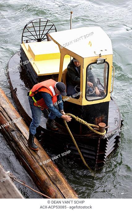 Working on Boomsticks, Dozer Boat, Port Mellon, Howe Sound, Sunshine Coast, B.C. Canada