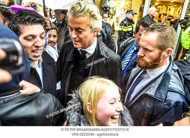 BREDA - THE NETHERLANDS - MARCH 8: Geert Wilders visit Breda, a week before the election and flyers on March 8, 2017 in Breda