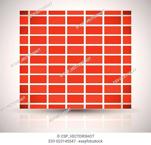 Repeating brick wall pattern, brick wall background isolated on white with alternating bricks, editable vector