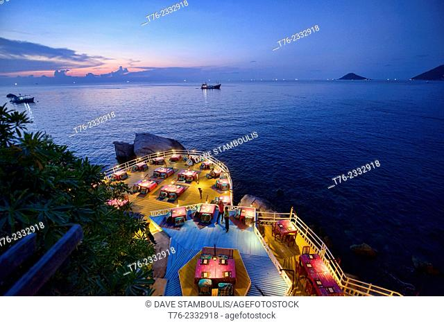 Romantic restaurant overlooking the Gulf of Thailand on Koh Tao, Thailand