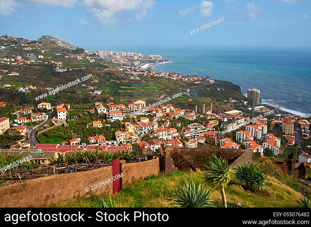 View of Miradouro da Torre viewpoint of the atlantic coastline with cactus in Câmara de Lobos, Madeira