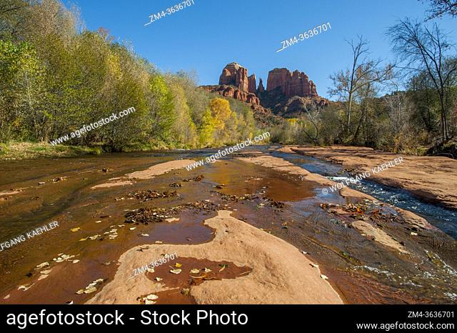 View of Cathedral Rock from Red Rock Crossing (Oak Creek) near Sedona, Arizona, USA
