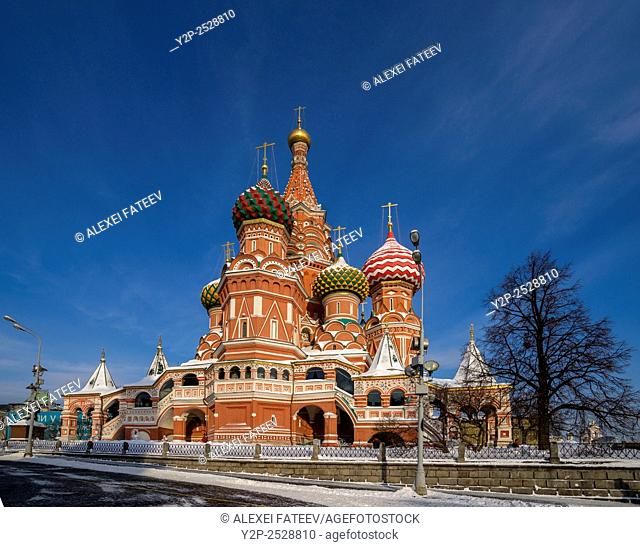 St. Basil's Cathedral in Moscow, Russia on a winter day