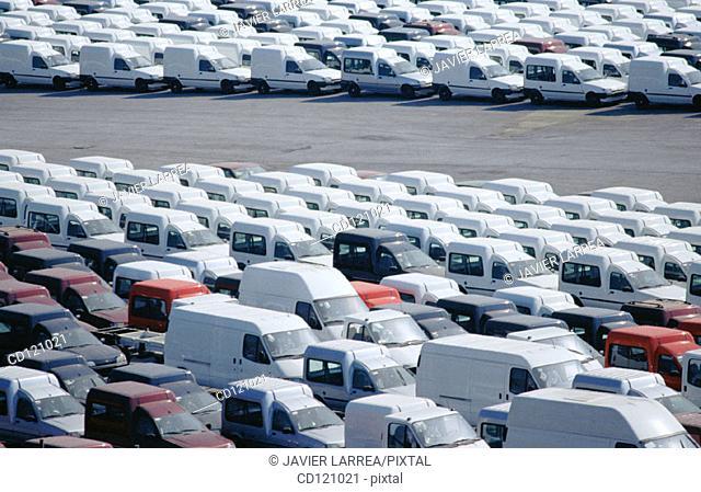 Automobiles parked at Port of Pasajes. Guipuzcoa. Spain