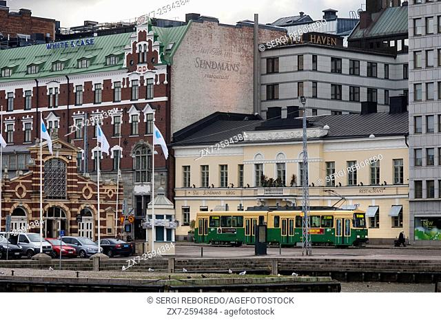 General view of the Helsinki city with the tram, market, from the Eteläranta street