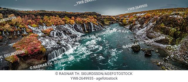 Autumn color and Hraunfossar waterfalls, Iceland. This image is shot using a drone