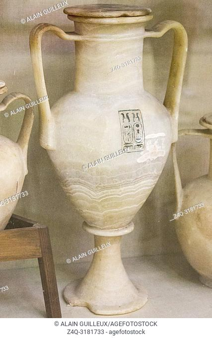 Egypt, Cairo, Egyptian Museum, Tutankhamon alabaster, from his tomb in Luxor : Large amphora, with 2 handles, showing the cartouches of Tutankhamon