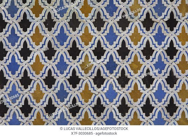 Detail, tiled, Medersa or Madrasa el-Attarine, medina, Fez el Bali, Fez, Morocco