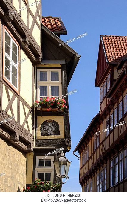 Half-timbered houses in Lange Gasse, Quedlinburg, Harz, Saxony-Anhalt, Germany, Europe