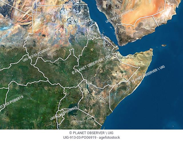 Satellite view of Northeast Africa (with country boundaries). This image was compiled from data acquired by Landsat 7 & 8 satellites